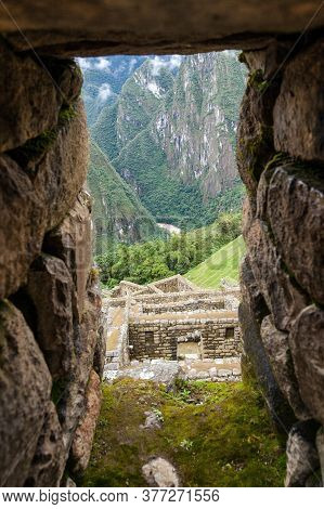 Machu Picchu, Detail From Peruvian Incan Town, Unesco World Heritage Site, Sacred Valley, Cusco Regi