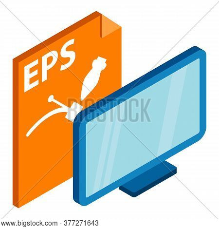 Eps File. Isometric Illustration Of Eps File Vector Icon For Web