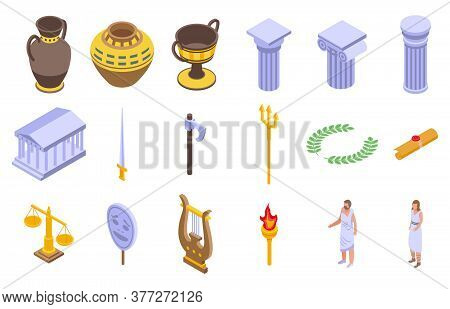 Ancient Greece Icons Set. Isometric Set Of Ancient Greece Vector Icons For Web Design Isolated On Wh