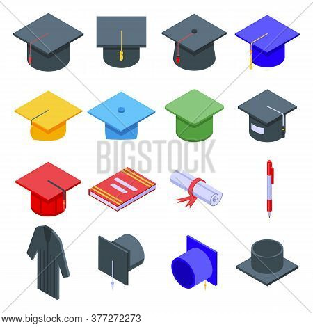 Graduation Hat Icons Set. Isometric Set Of Graduation Hat Vector Icons For Web Design Isolated On Wh