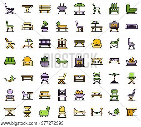 Garden Furniture Icons Set. Outline Set Of Garden Furniture Vector Icons Thin Line Color Flat On Whi