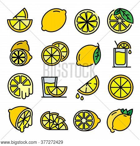 Lime Icons Set. Outline Set Of Lime Vector Icons Thin Line Color Flat On White