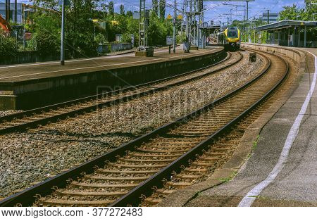 Waiblingen,germany - July 19,2020:train Station A Yellow Train Was Stopping At The Old Station Of Th