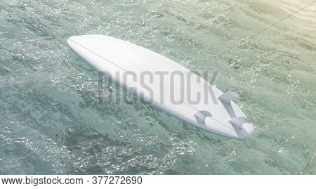 Blank White Surfboard With Fins On Water Surface Mockup, 3d Rendering. Empty Deck Bottom For Aqua De