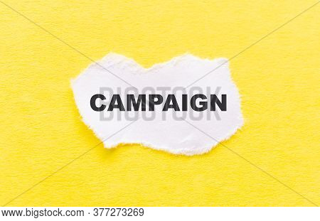 Campaign Word Written On Wood Block. Campaign Text On Table, Concept.