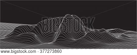 Abstract Vector Surface. Landscape Made Of Lines. Surface Made Of Sections.