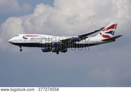 London / United Kingdom - July 14, 2018: British Airways Boeing 747-400 G-civo Passenger Plane Landi