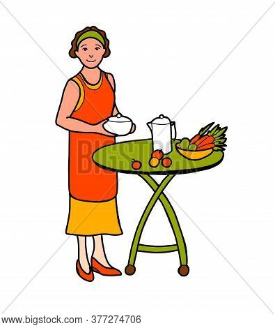 The Woman Cooks And Sets The Table. The Happy Housewife. Grandmother. Minimalistic Style. Isolated O