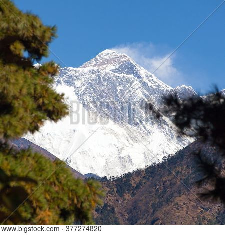 View Of Mount Everest Near Namche Bazar In The Middle Pine Trees, Khumbu Valley, Solukhumbu, Sagarma