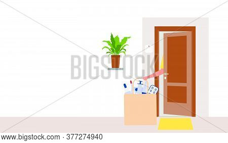 Vector Illustration Contactless Delivery. Medicines Bag Left At Entrance To The House. Coronavirus C
