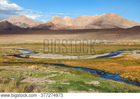 Beautiful Landscape Panorama Of Pamir Mountains Area In Tajikistan Badakhshan. Landscape Around Pami