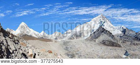 Panoramic View Of Khumbu Glacier Mount Pumori And Nuptse, Kala Patthar Near Gorak Sheep Village, Khu