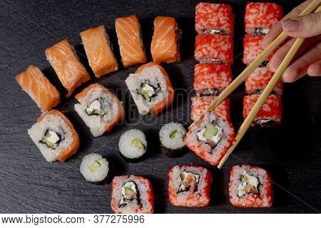 Set Of Sushi Roll On Black Slate Background Food Fish Philadelphia Japanese Salmon Delicious Sushi R