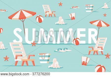 Summer Word Flat Banner Template. Beach Umbrellas, Balls, Lounge Chairs, And Sandcastles Vector Illu