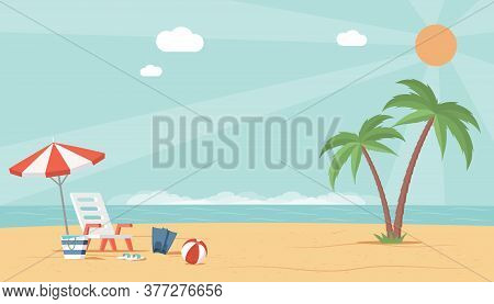Summer Beach Landscape View With Sea, Palm Trees, Umbrella, Ball, And Deckchair. Perfect Vacation An