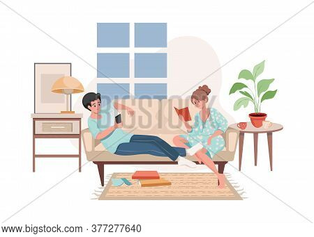 Smiling Man And Woman In Domestic Clothes Sitting On Sofa, Surf On The Internet, And Read Books Vect