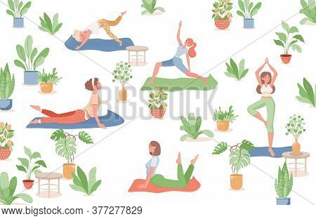 Happy Smiling Women In Sports Clothes Surrounded By Plants In Pots And Doing Yoga, Fitness Or Stretc