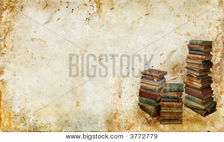 Vintage Books On A Grunge Background