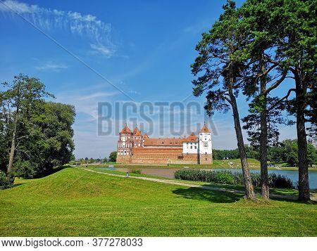 Mir Castle And Park Complex, Mir Castle, Is A Unique Monument Of Belarusian National Culture, An Arc