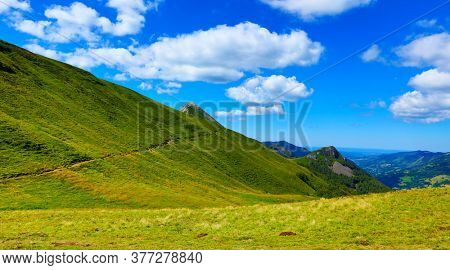 beautiful Cantal landscape in France- hiking trail in mountain-Puy Mary, Puy Griou