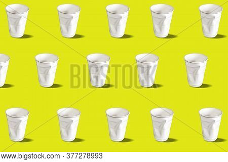 Disposable Cups Pattern. Disposable Crumpled Plastic Water Glasses. Pattern On A Yellow Background.