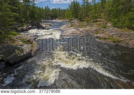 Rushing Waters In A Canadian Shield Canyon In Chutes Provincial Park In Ontario, Canada