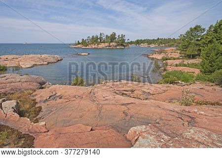 Remote Rocky Lakeshore On Lake Huron In Killarney Provincial Park In Ontario, Canada