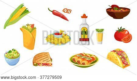 Mexican Traditional Food And Drink Set Icon. Tequila, Guacamole, Quesadilla, Enchilada, Burrito, Tac