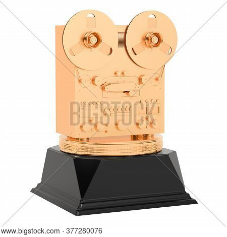 Music Award, Golden Reel-to-reel Tape Recorder Concept. 3d Rendering Isolated On White Background