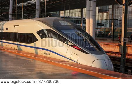 Wuxi- China - November 5,2019:High speed train of High-speed rail (HSR) network in China is the world's longest high speed railway network.