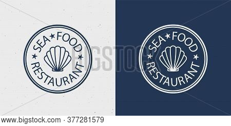 Sea Food Restaurant Vector Logo For Business Card, Ad, Menu. Logotype Template For Fish Place Or Cra