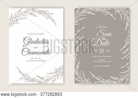 Vector Wedding Invitations Set With Lavender Flowers. Romantic Tender Floral Design For Wedding Invi