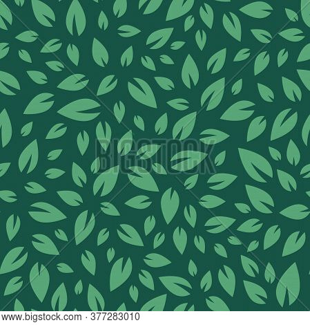 Seamless Floral Pattern. Green Leaves Texture On Dark Green Background.