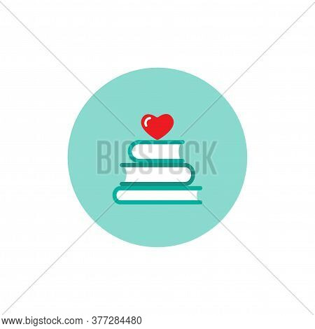 Stack Of Books With Red Heart In Blue Circle. Isolated On White Background. Bibliophile Flat Icon.