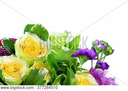 Floral Modern Bouquet Of Different Flowers Isolated On A White Background, Colorful Bunch Of Flowers