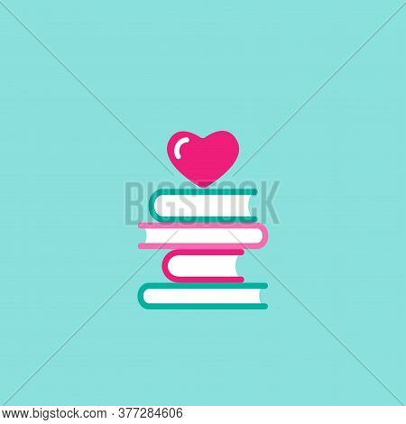 Stack Of Books With Pink Heart. Isolated On Blue Background. Bibliophile Flat Icon. Vector