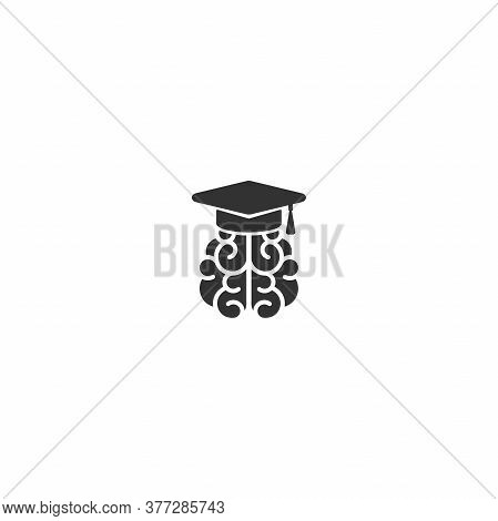 Black Brain Character With Mortar Board Cap.