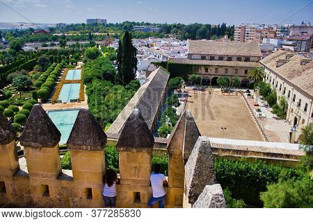 Cordoba, Spain - September 02, 2015: Wide Angle View Of Alcázar De Los Reyes Cristianos (castle Of T