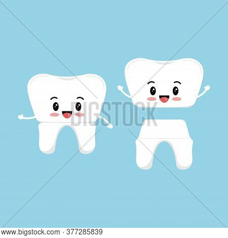 Cute Tooth With Dental Crown Emoji Icon Set Isolated On Background. Sweet Smilling Teeth Orthodontic