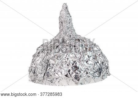 Aluminium Foil Hat Isolated On White Background, Symbol For Conspiracy Theory And Mind Control Prote