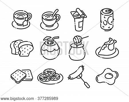 Foods And Drinks Line Black Icons Style 7 Vol 2