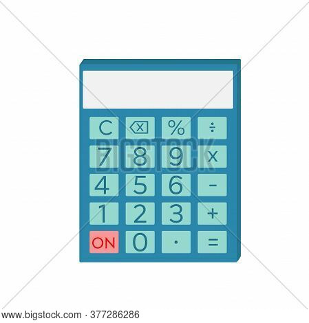 Shcool Calculator Icon In Flat Style Isolated. Vector Electronic Portable Calculator.
