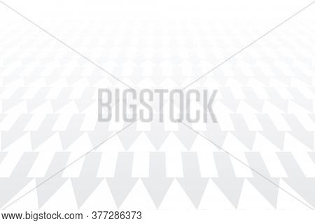 Arrows pattern. Diminishing perspective. White geometric background.