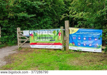 Parkgate, Uk: Jun 17, 2020: A Large Banner And Signs At The Entrance To The Wirral Way Cycle Track &