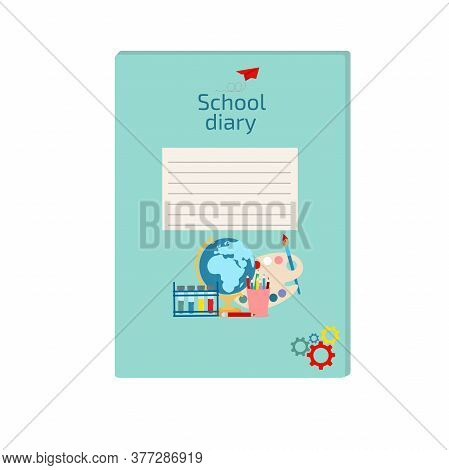 Diary Cover For Children. School Diary For Primary Or Other School Cover Template. Vector Illustrati