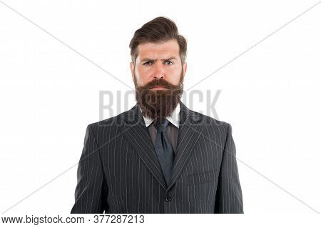 Express Your Individuality. Timeless Suit. Business Man Wear Suit. Serious Bearded Man. Boss Or Dire