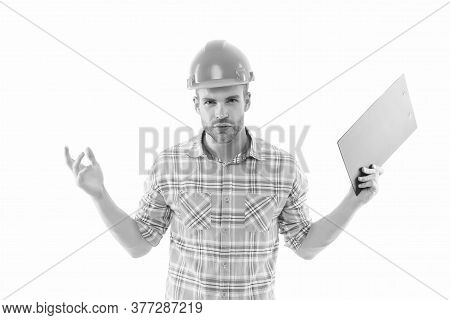 What Is Real Cost. Renovation Concept. Planning Changes Renovation. Foreman With Documents. Supplies