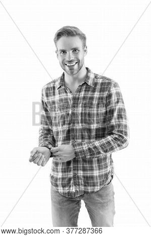 Checkered Shirt Always In Trend. Man Try On Clothes In Shop. Fashion Model. Handsome Man With Bristl