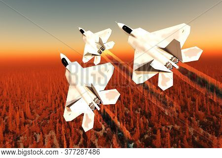 F-22 Fighter Jets Over Forest 3d Illustration - Three F-22 Fighter Jets With Supersonic Twin-engines