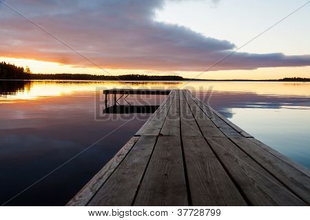 Beautful Sunset Over Timber Jetty